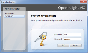 OpenInsight 10 Login Screen
